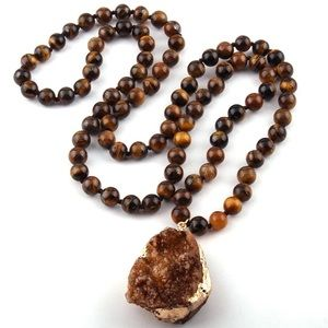 Natural Tiger Eye Druzy Pendant Necklace